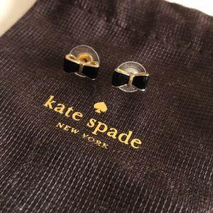 Kate Spade Bow Earrings Black Gold